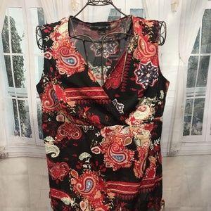 VENEZIA Red/Black/Blue Floral/Paisley Blouse 18/20